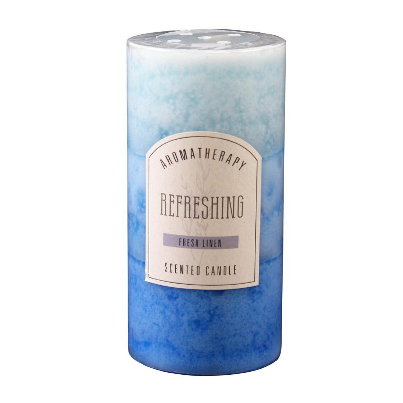 Image 0 of 3 x 6 Pillar Candle Fresh Linen Scented Refreshing Aroma Therapy 90 Hours Burn