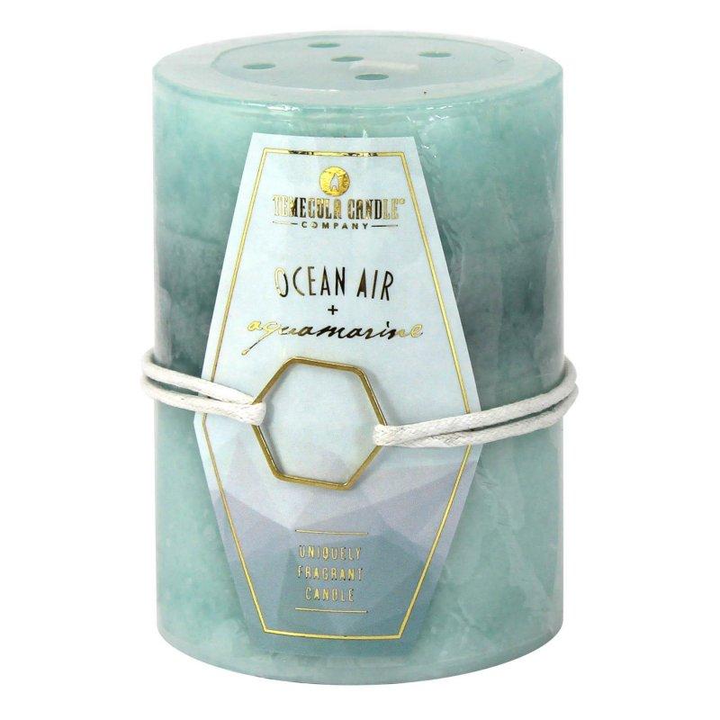 Image 0 of 3 x 4 Pillar Candle Ocean Air & Aquamarine Scent 60 Hours Burn Time