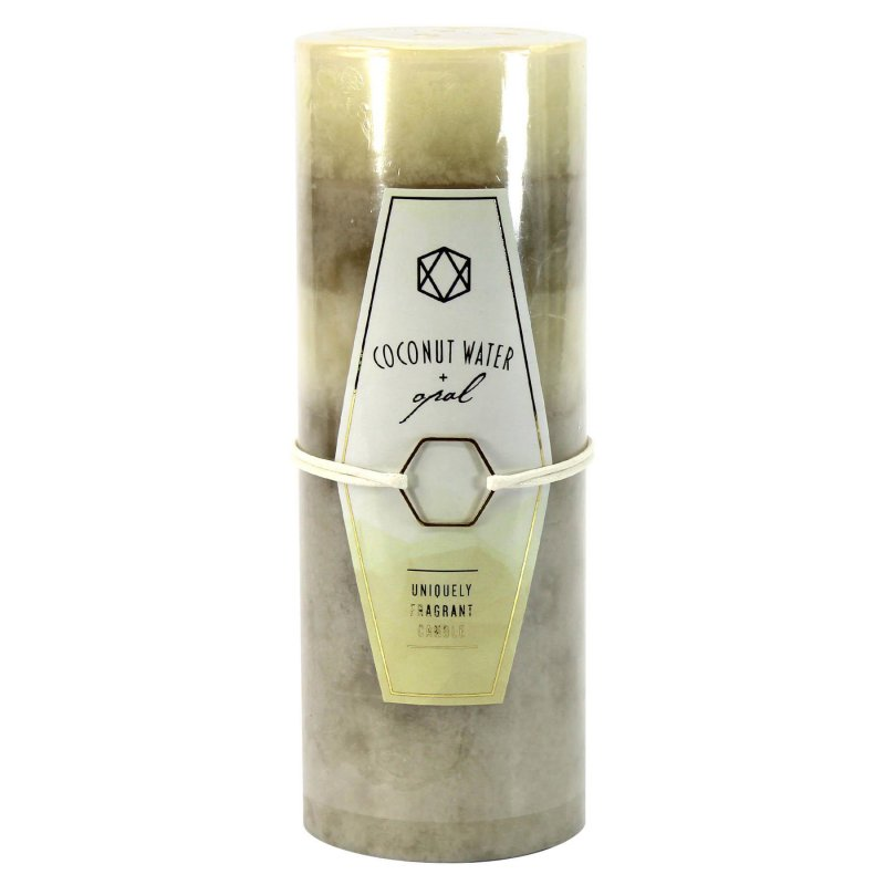 Image 0 of 3 x 8 Pillar Candle Coconut Water & Opal Scent 120 Hours Burn Time
