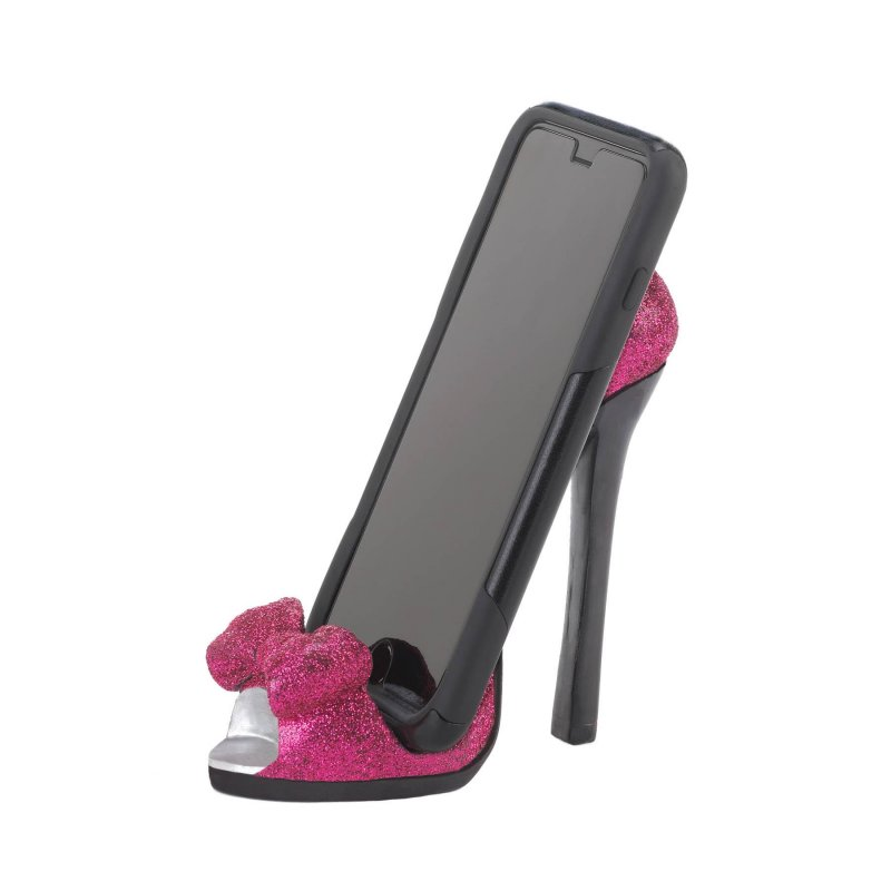 Image 1 of Pink Sparkle High Heel Cell Phone Holder Open Toe Bow Design