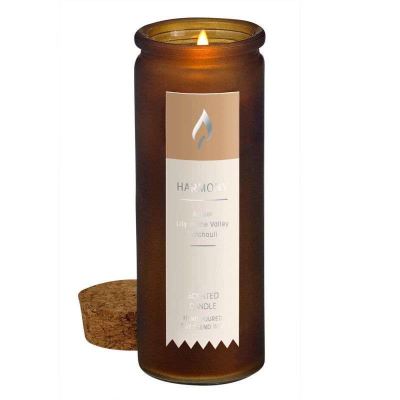 Image 1 of Amber Patchouli Harmony Scent Tincture Bottle Candle w/ Cork Lid
