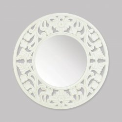 Carved Round Wall Mirror White Wooden Frame 23 Diameter French Country Style