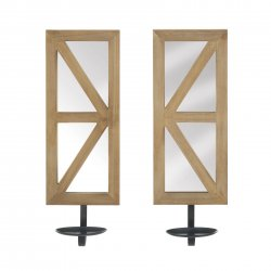 Fir Wood Candle Wall Sconce with Mirrored Back Set of 2