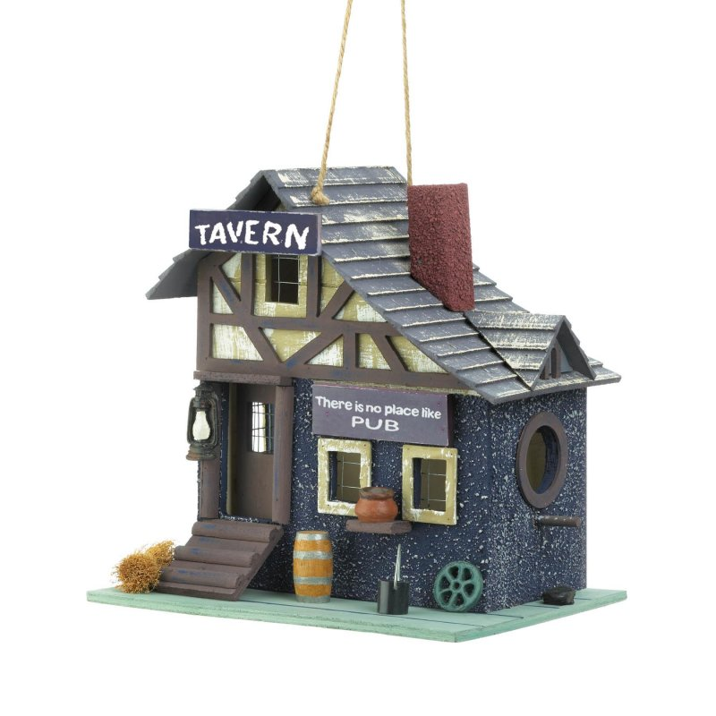 Image 1 of Tavern Themed Birdhouse w/ Like-Like Details Wooden Barrel, Pub Sign