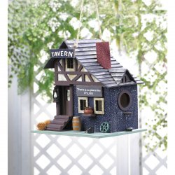 Tavern Themed Birdhouse w/ Like-Like Details Wooden Barrel, Pub Sign