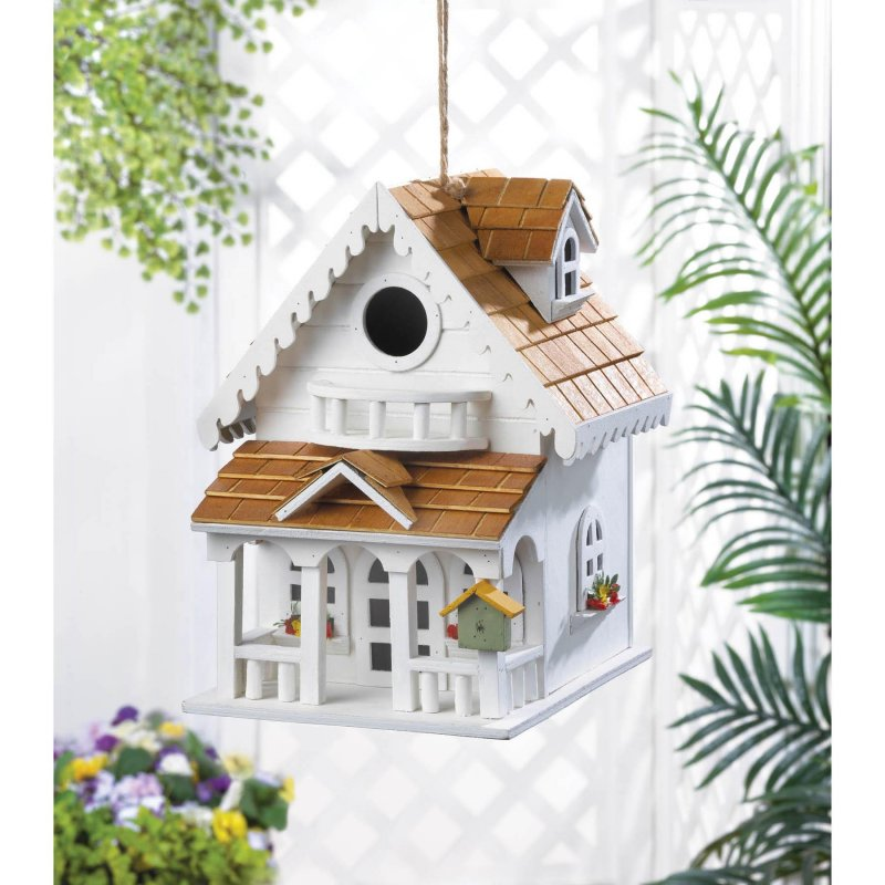 Image 1 of Two-Story Cottage Style Birdhouse w/ Balcony, Window Flower Boxes