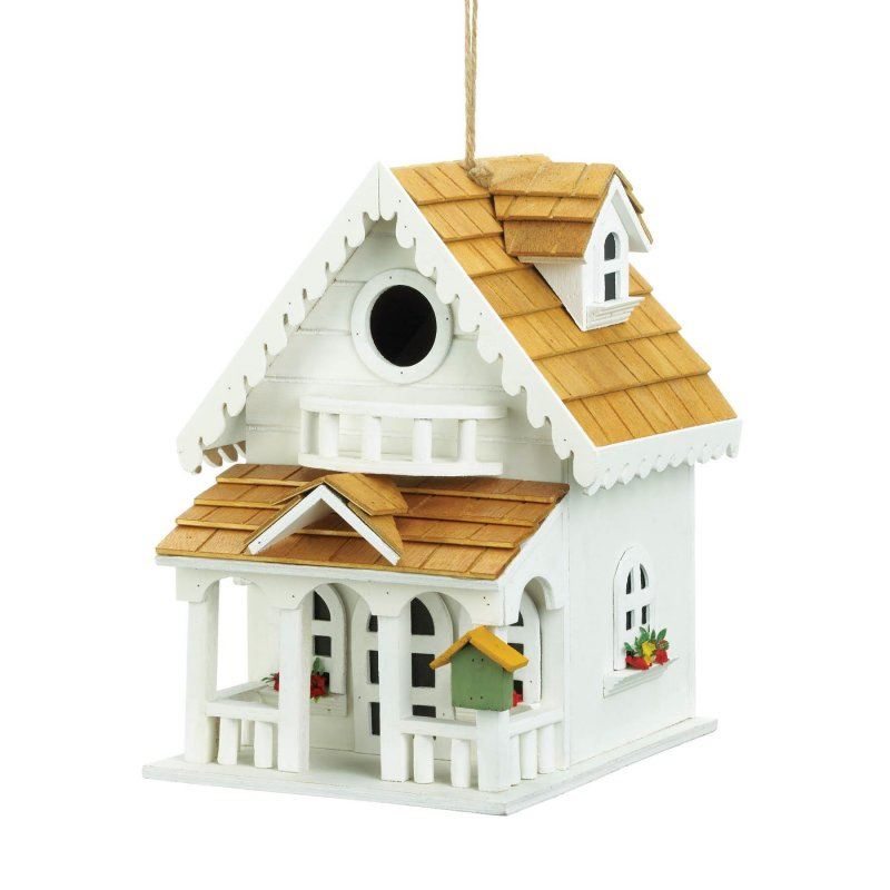 Image 2 of Two-Story Cottage Style Birdhouse w/ Balcony, Window Flower Boxes