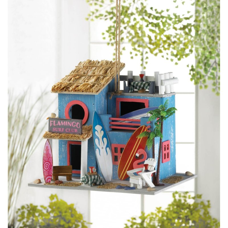 Image 0 of Pink Flamingo Surf's Up Birdhouse Beach Themed