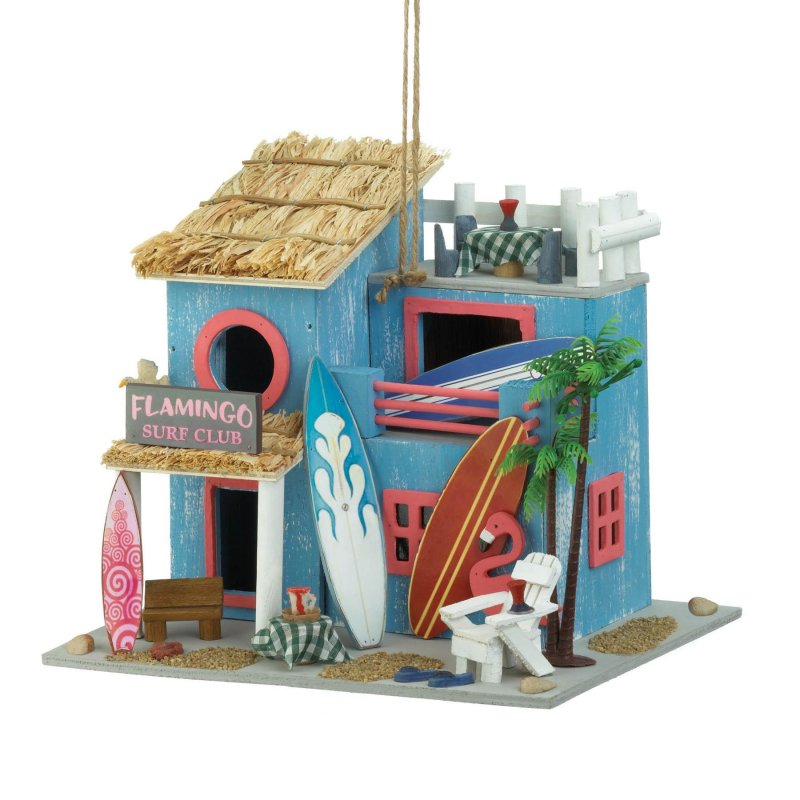 Image 1 of Pink Flamingo Surf's Up Birdhouse Beach Themed