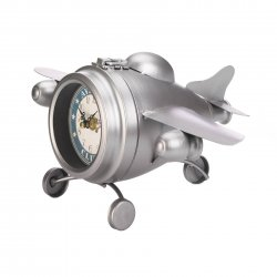 Aviation Club Desk Clock Vintage Design Jet Airplane Shaped Silver Finish