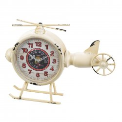 Helicopter Desk Clock Aviation Vintage Design Distressed White Finish