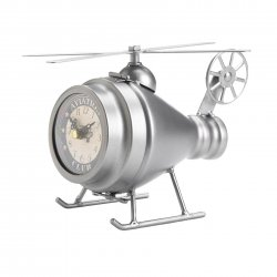 Helicopter Desk Clock Aviation Vintage Design Polished Silver Finish