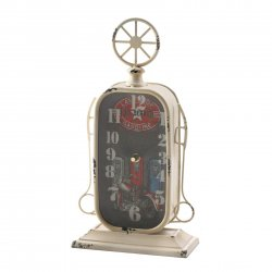Fuel Pump Desk Clock Gas Station Vintage Design w/ Motorcycle Print