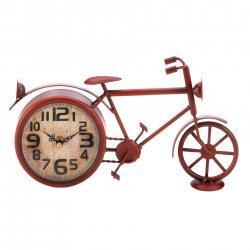 Red Bike Desk Clock Vintage Design Large Clock Face Rustic Country Decor
