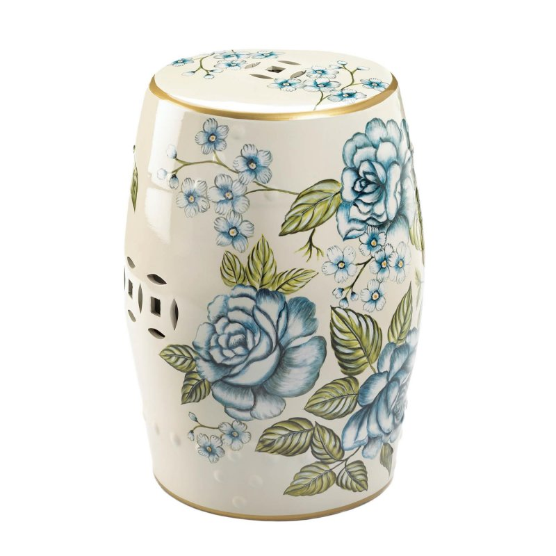 Image 0 of Garden Stool or Side Table, Plant Stand Antique Blue Floral Design