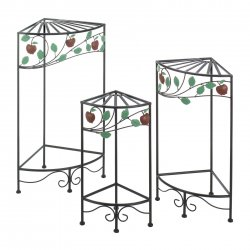 Corner Plant Stands w/ Country Apple Theme Triangular Shape Set of 3