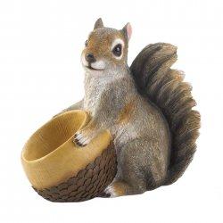Seed Bird Feeder Squirrel Holding Acorn Shaped Bowl