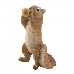 Garden Figurine Squirrel Standing Eating Walnut