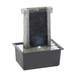 Indoor Tabletop Water Fountain Stone-Like Wall w/ LED Light 800ml Water Capacity