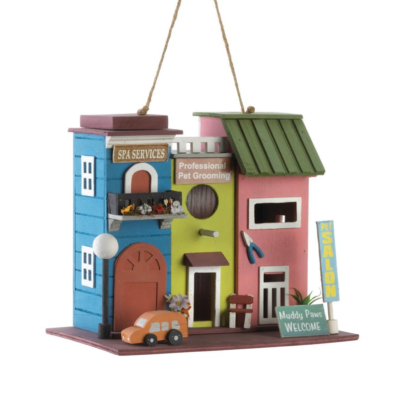 Image 1 of Pet Salon Spa Birdhouse w/ Pet Grooming Sign 1 1/4