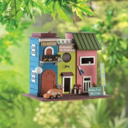 Pet Salon Spa Birdhouse w/ Pet Grooming Sign 1 1/4 Bird & Clean Out Hole