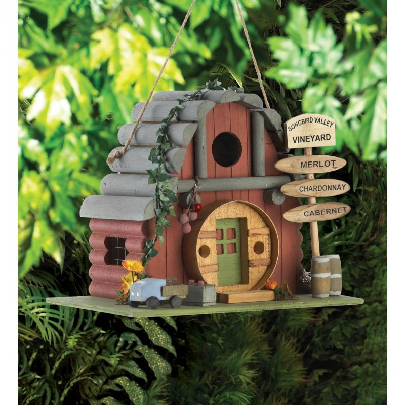 Image 0 of Vintage Style Winery Birdhouse w/ Vineyard Sign 1 1/4