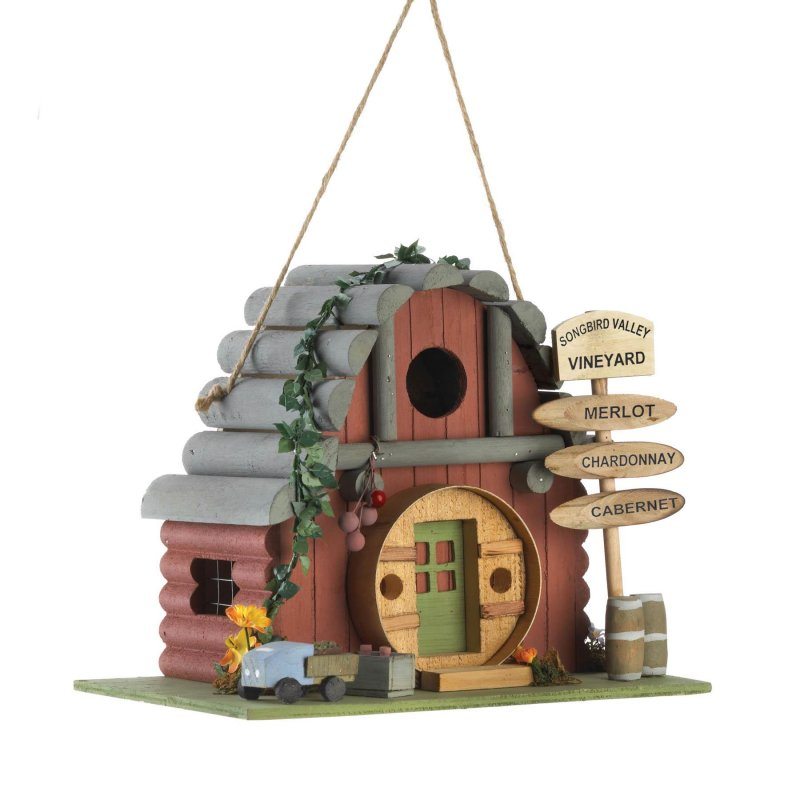 Image 1 of Vintage Style Winery Birdhouse w/ Vineyard Sign 1 1/4