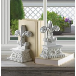 Distressed White Fleur De Lis Bookends Symbol of Perfection, Light & Life