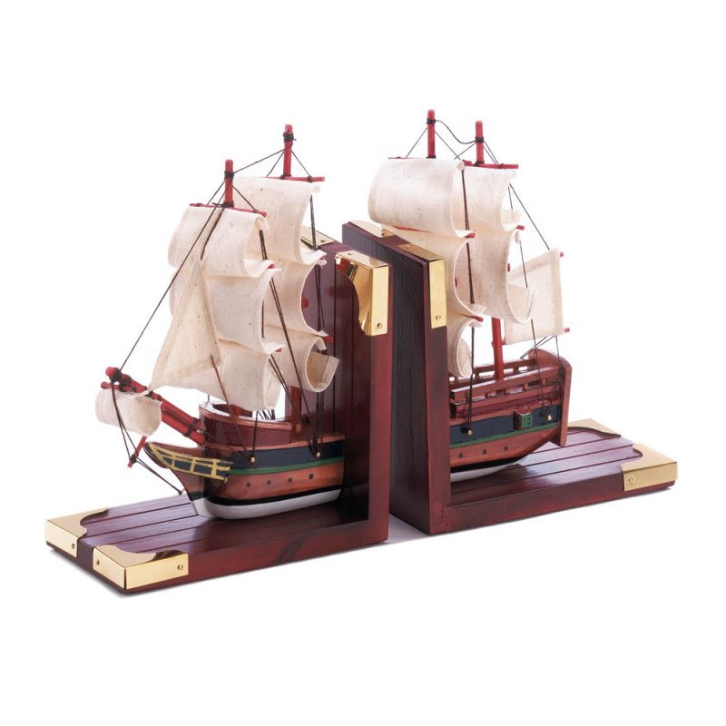 Image 1 of Classic Sailing Schooner Model Bookends Office, Den, Library Nautical Decor