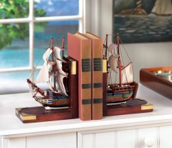 Classic Sailing Schooner Model Bookends Office, Den, Library Nautical Decor