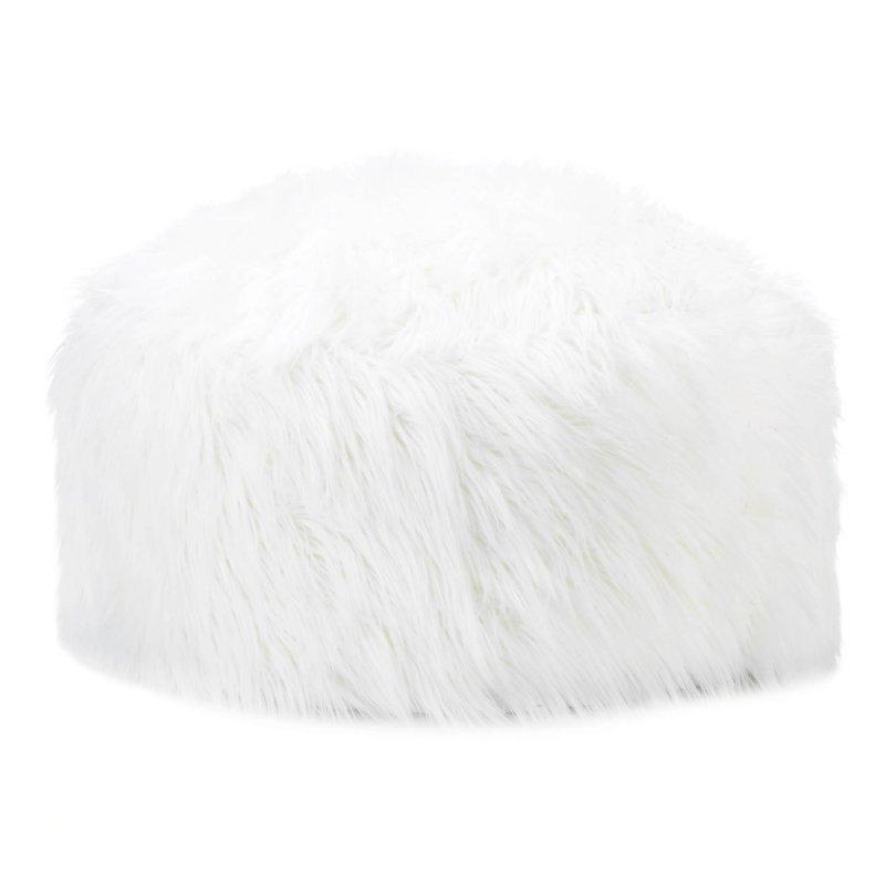 Image 0 of Fuzzy White Pouf, Ottoman, Footstool Extra Large