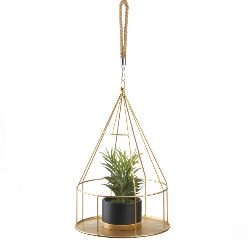 Image 0 of Hanging Plant Holder Gold Round Base & Frame Rope Hook for Small Plants