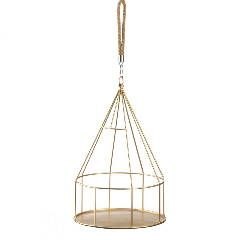 Image 1 of Hanging Plant Holder Gold Round Base & Frame Rope Hook for Small Plants