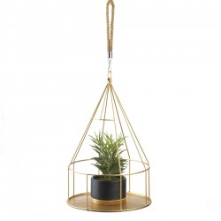 Hanging Plant Holder Gold Round Base & Frame Rope Hook for Small Plants