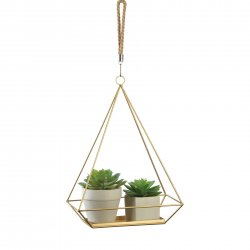 Hanging Plant Holder Gold Rectangle Base & Triangle Frame Rope Hook Small Plants