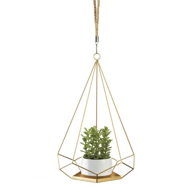 Image 0 of Hanging Plant Holder Gold Base & Prism Shaped Frame Rope Hook for Small Plants
