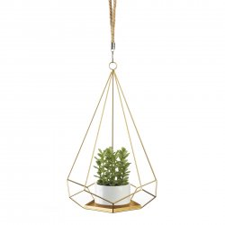 Hanging Plant Holder Gold Base & Prism Shaped Frame Rope Hook for Small Plants