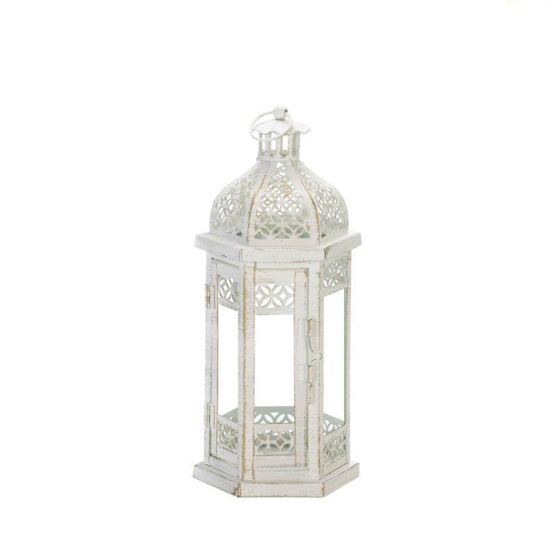 Image 0 of Antiqued White Candle Lantern w/ Floral Cutouts Hexagonal Shape 11.8