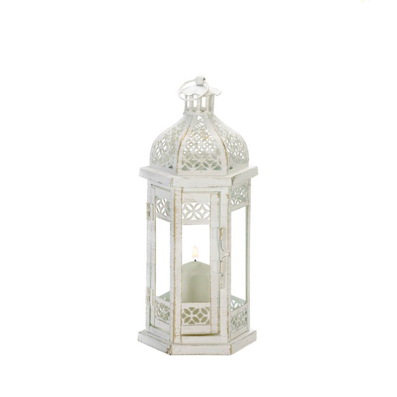 Image 1 of Antiqued White Candle Lantern w/ Floral Cutouts Hexagonal Shape 11.8