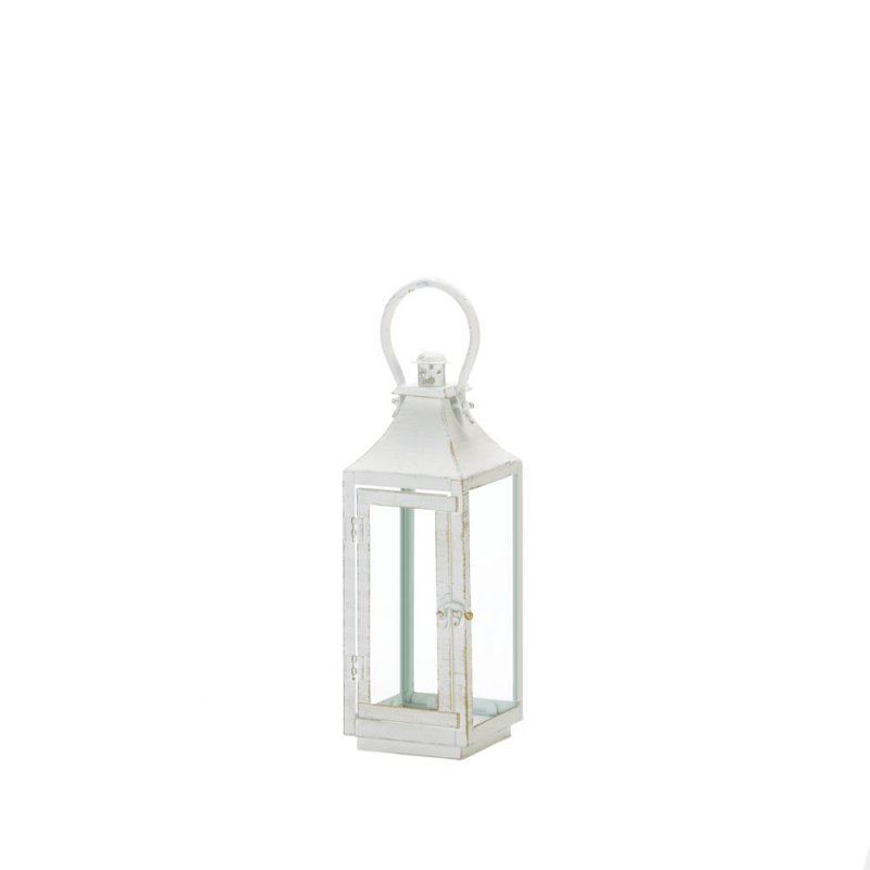Image 0 of Traditional White Candle Lantern w/ Clear Glass Panes 12