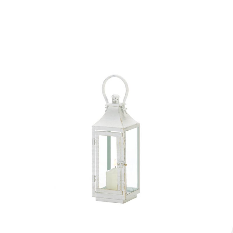 Image 1 of Traditional White Candle Lantern w/ Clear Glass Panes 12