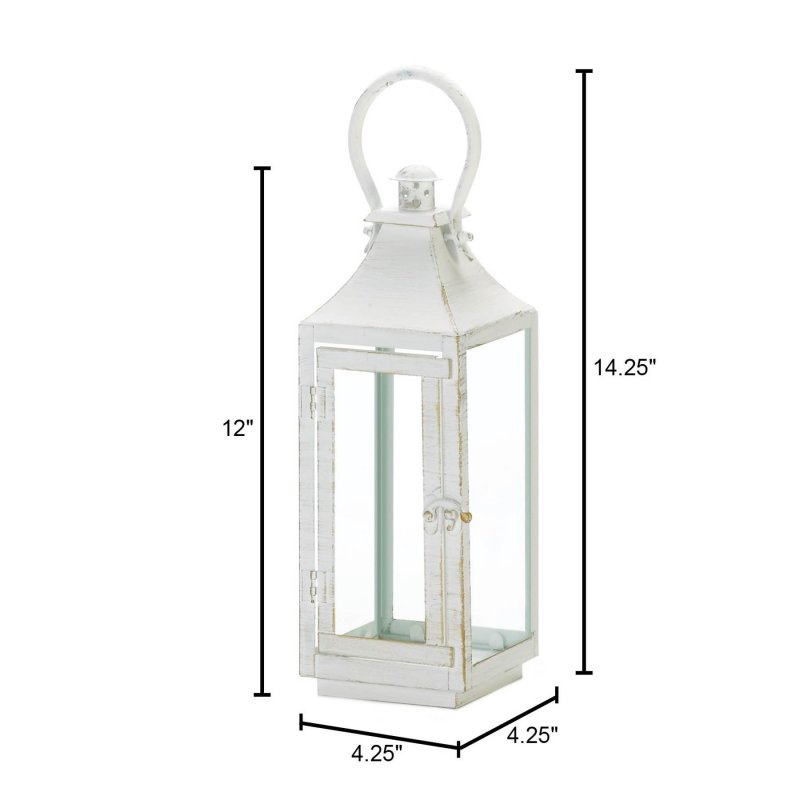 Image 2 of Traditional White Candle Lantern w/ Clear Glass Panes 12