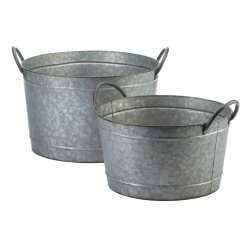 2 Galvanized Metal Bucket Planters w/ Handles 1 Large & 1 Small Country Decor