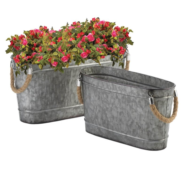 Image 1 of 2 Oval Bucket Planters Galvanized Metal w/ Rope Handles 1 Large & 1 Small