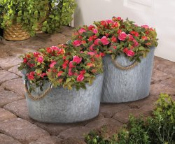 2 Round Bucket Planters Galvanized Metal w/ Rope Handles 1 Large & 1 Small
