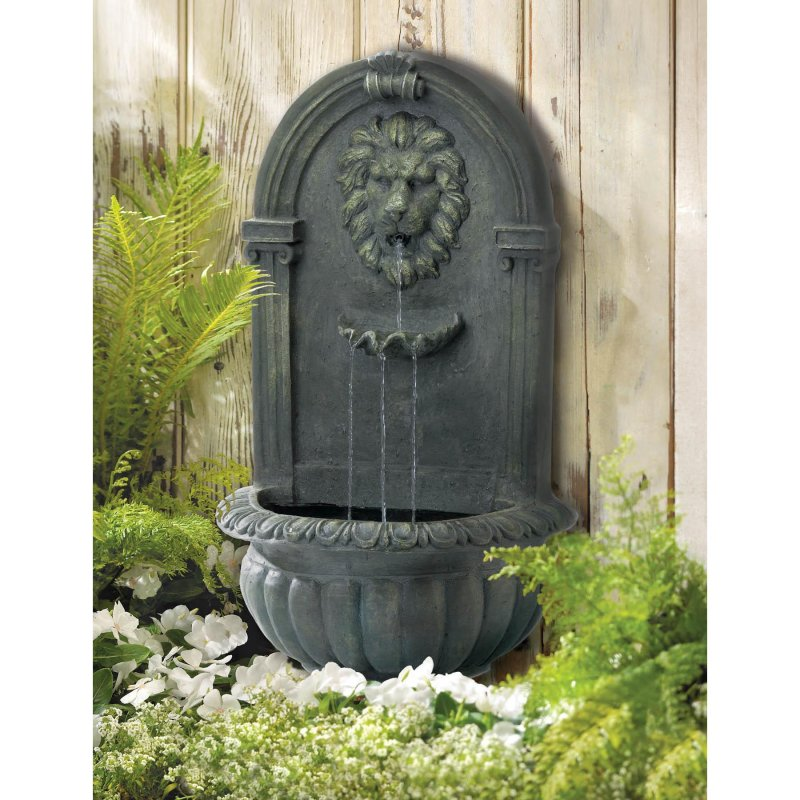 Image 0 of Outdoor Lion Wall Fountain Mossy Green Weather Resistant Electrical