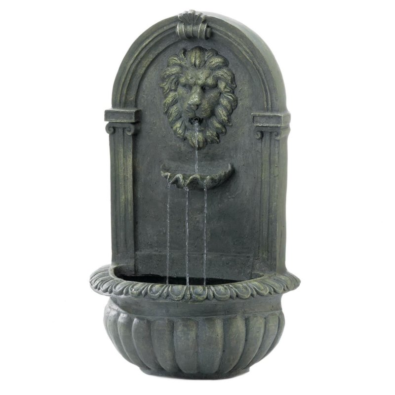 Image 1 of Outdoor Lion Wall Fountain Mossy Green Weather Resistant Electrical