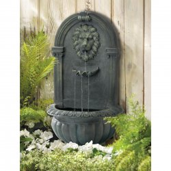 Outdoor Lion Wall Fountain Mossy Green Weather Resistant Electrical
