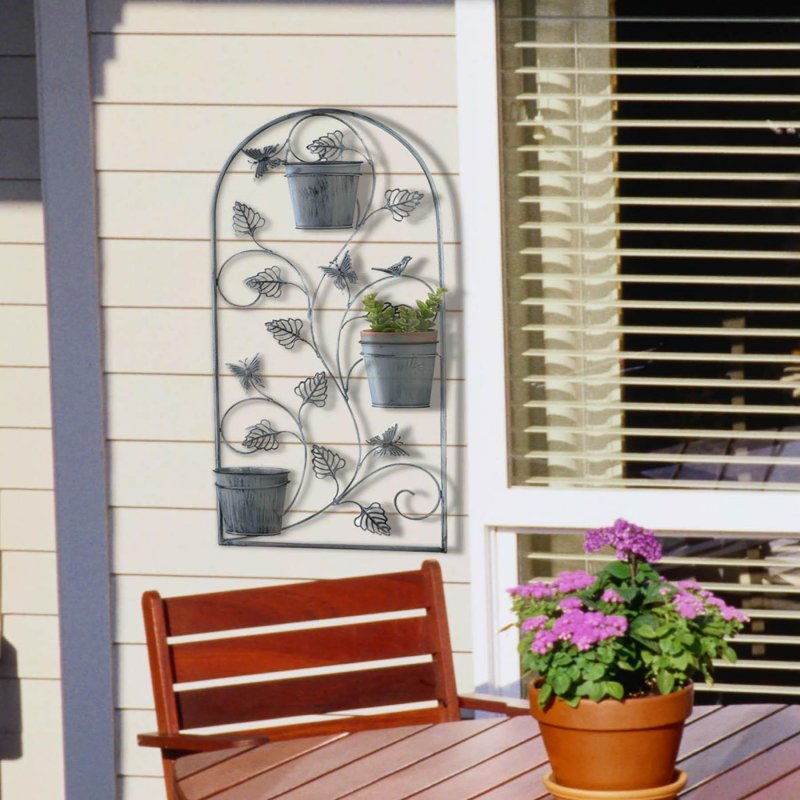 Image 0 of Butterfly Wall Trellis w/ 3 Flower Pots in Distressed Gray Finish 26