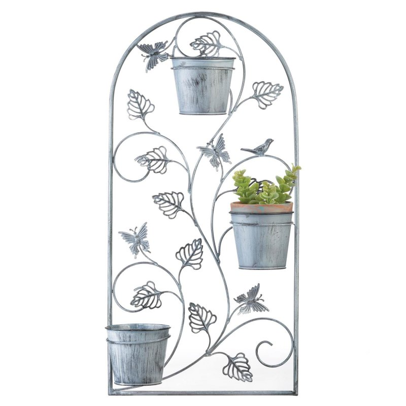 Image 1 of Butterfly Wall Trellis w/ 3 Flower Pots in Distressed Gray Finish 26